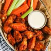 top view of Crispy Air Fryer Hot Wings in a basket