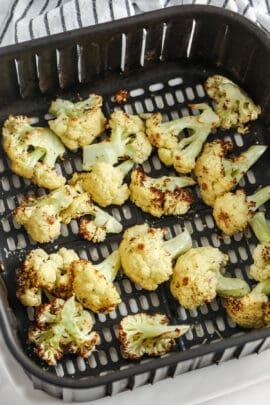 Air Fryer Cauliflower in the air fryer cooking