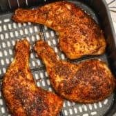 cooked Air Fryer Chicken Legs in the air fryer