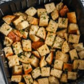 cooked Air Fryer Croutons in the air fryer