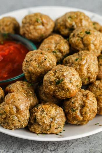 plated Chicken Meatballs
