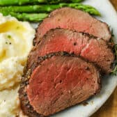 plated Roast Beef Tenderloin with potatoes and asparagus