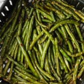 top view of cooked Sesame Air Fryer Green Beans