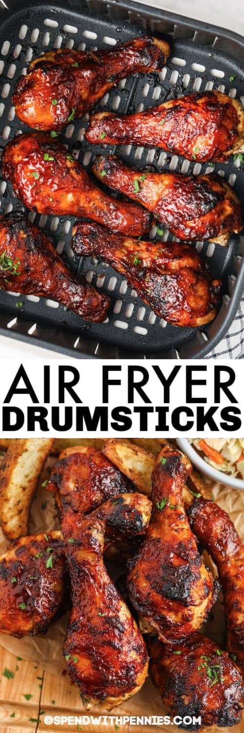 Air Fryer Chicken Drumsticks in the air fryer and plated with a title