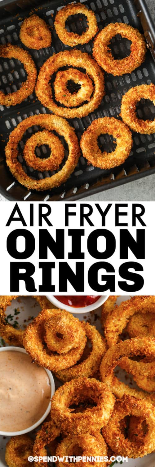 Air Fryer Onion Rings in the air fryer and plated with a title