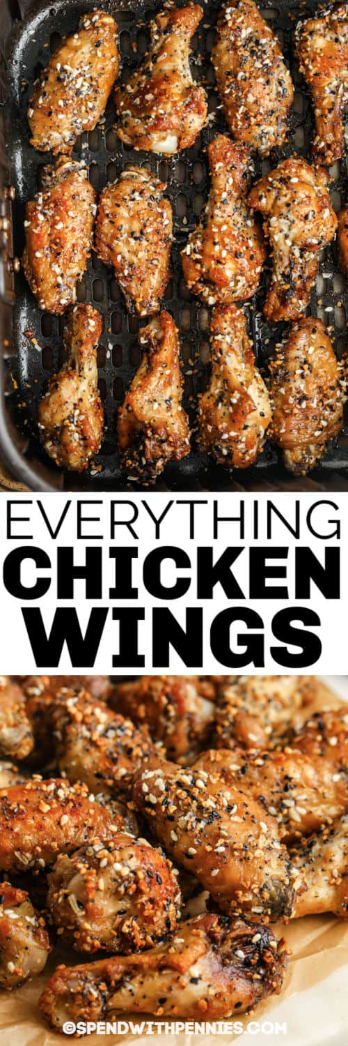 Everything Air Fryer Wings in the air fryer and plated with a title