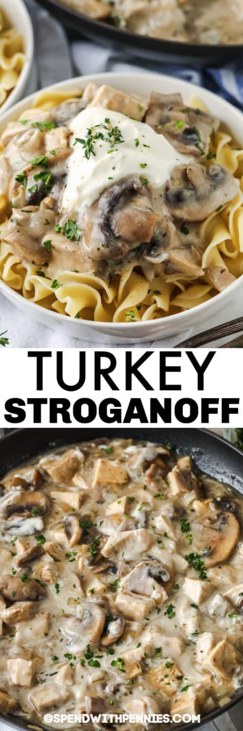 cooking Herbed Turkey Stroganoff with plated dish and a title