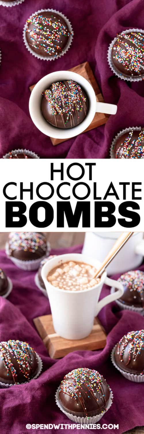 Hot Chocolate Bomb and finished hot chocolate in a mug with a title