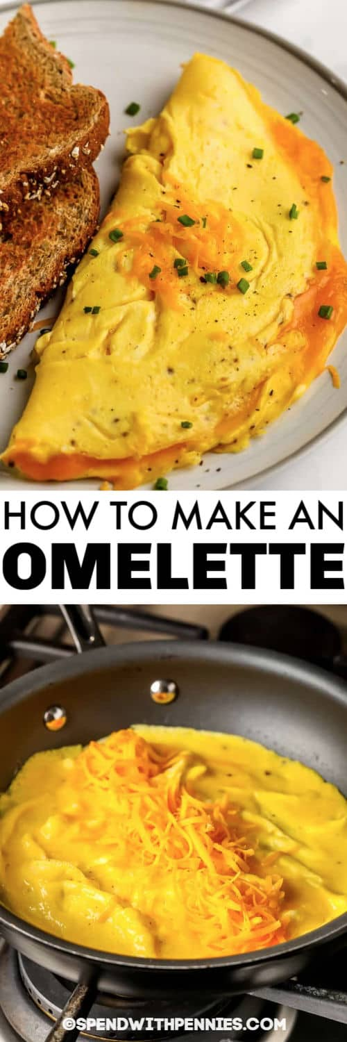 making an omelette in a pan and plated dish to show How to Make an Omelette