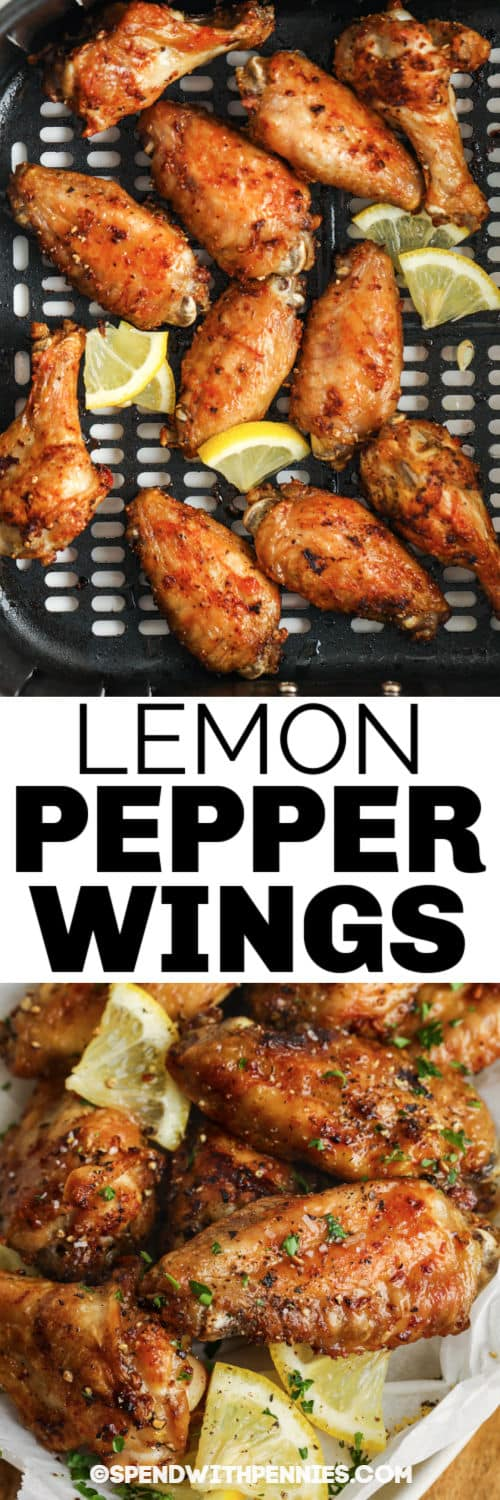 Lemon Pepper Wings in the air fryer and plated with a title