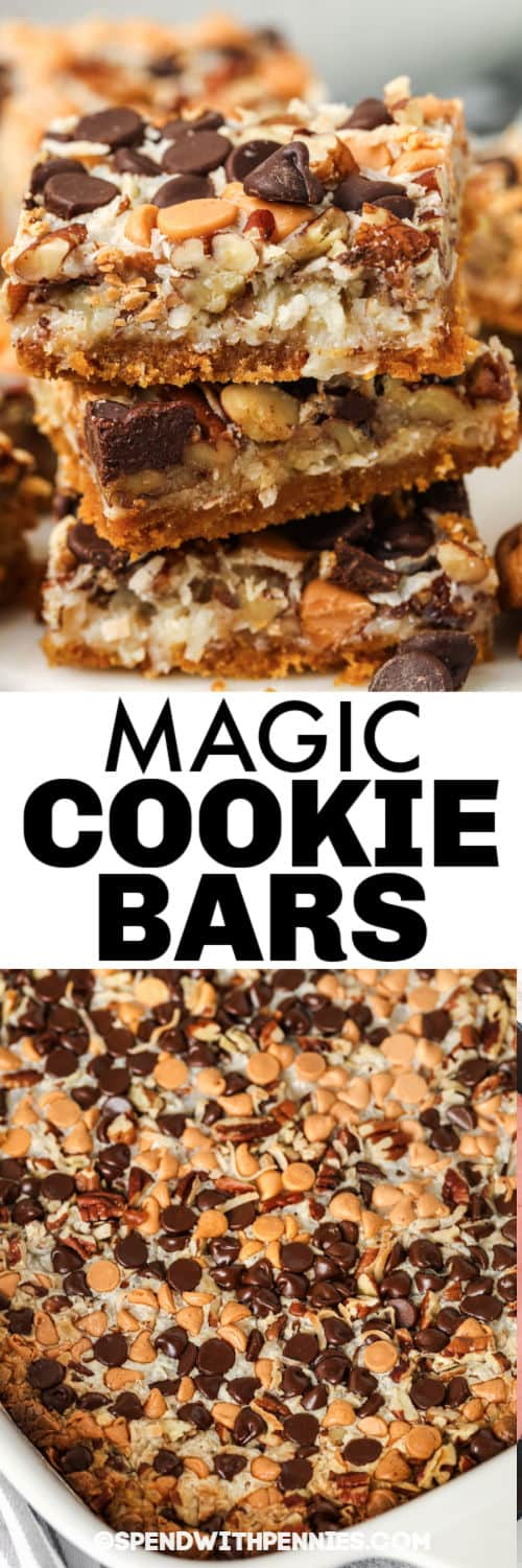 Magic Cookie Bars in a dish and plated with a title