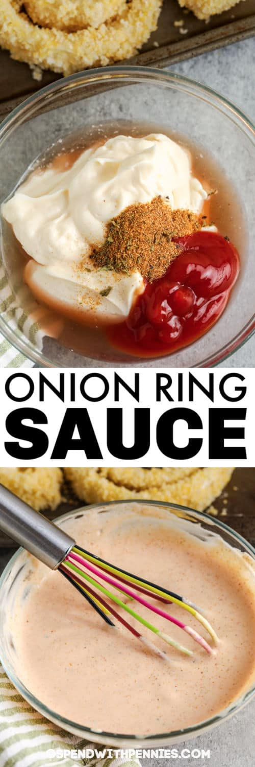 Onion Ring Sauce before and after mixing with a title