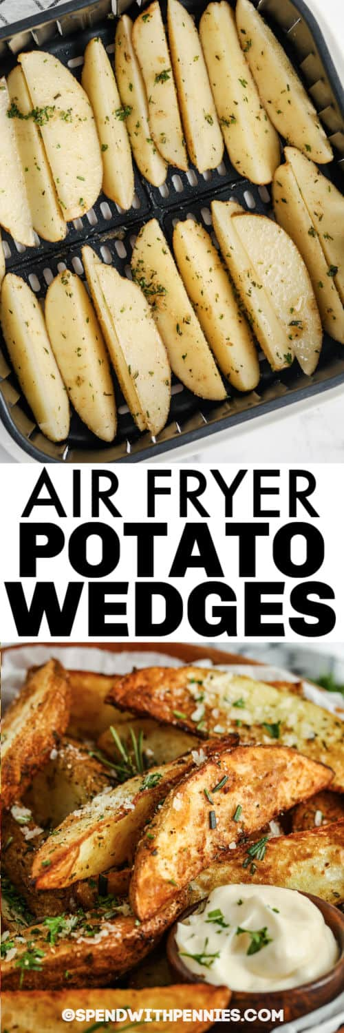 Rosemary Air Fryer Potato Wedges in the air fryer and plated with a title