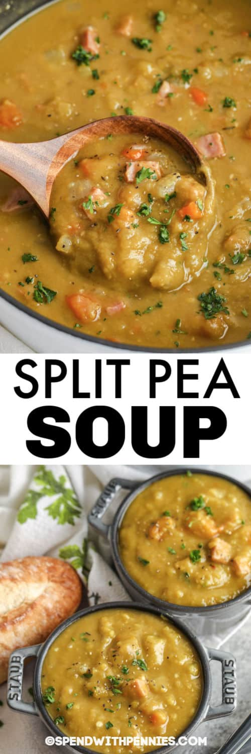 Split Pea Soup in the pot and bowls with writing