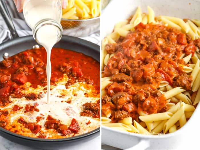 Steps for making baked mostaccioli