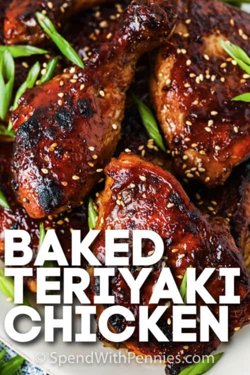 plated Baked Teriyaki Chicken with writing