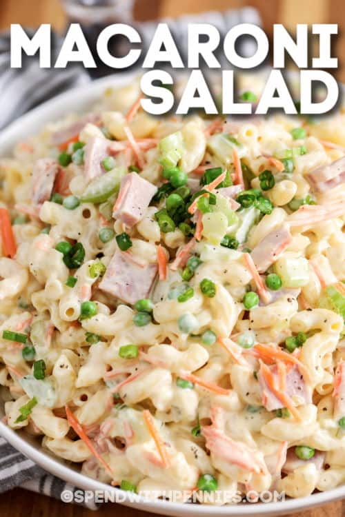plated Classic Macaroni Salad with writing