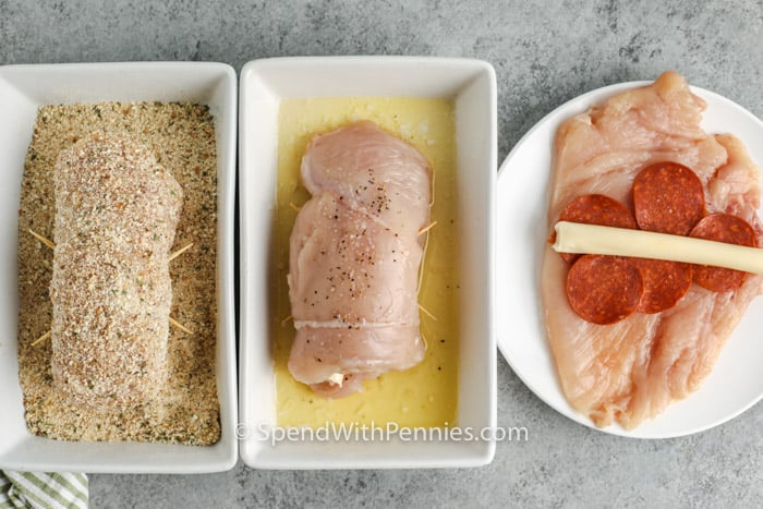 process of rolling and breading Pizza Stuffed Chicken