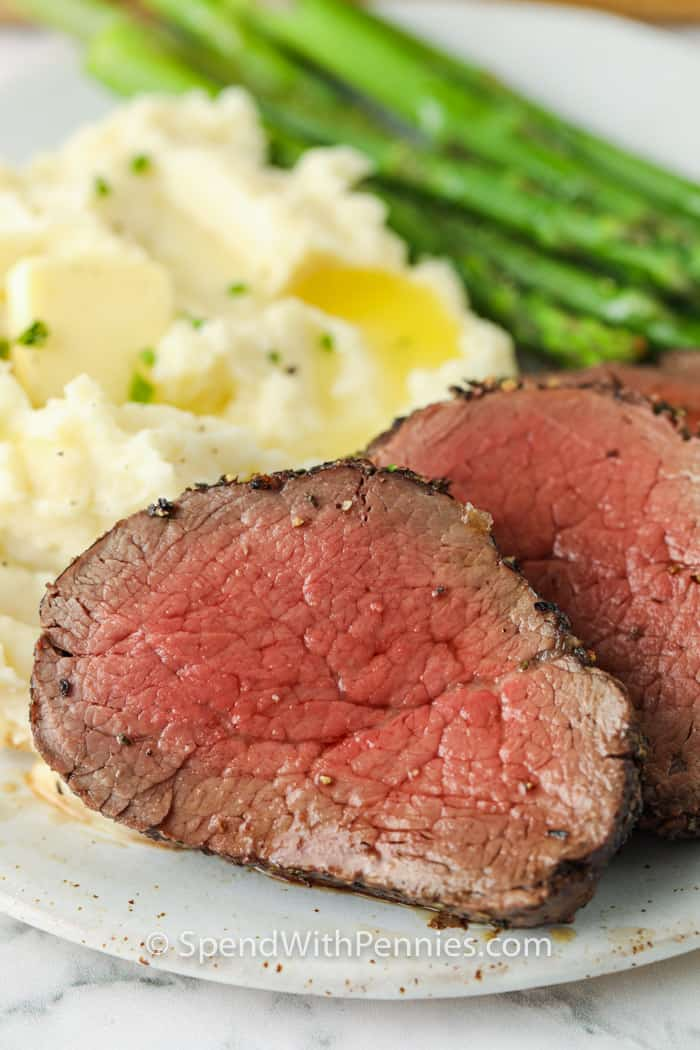 close up of Roast Beef Tenderloin on a plate