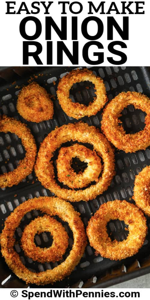 Air Fryer Onion Rings in the air fryer with a title