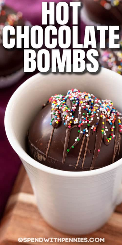 close up of Hot Chocolate Bomb in a mug with a title