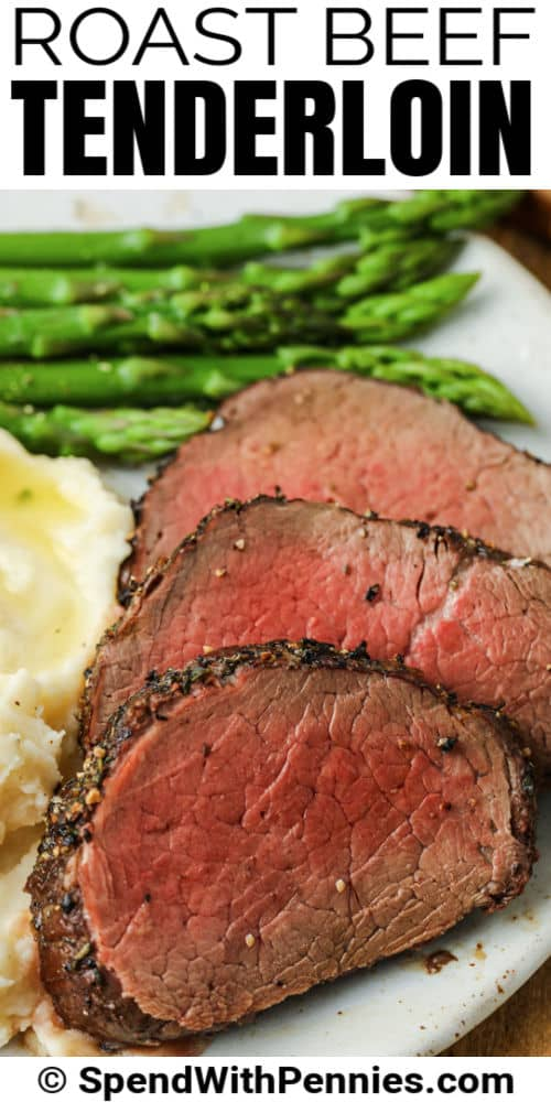 plated Roast Beef Tenderloin with a title