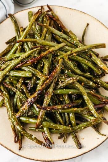 plated Sesame Air Fryer Green Beans