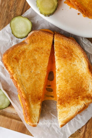 air fryer grilled cheese on a board