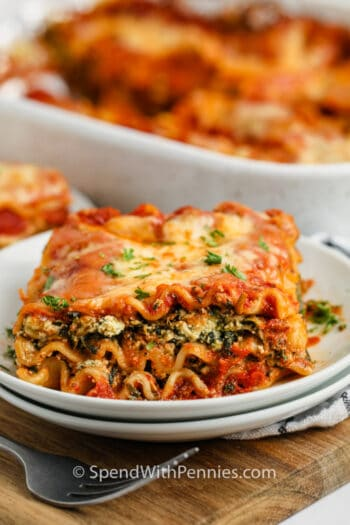 close up of plated Spinach Lasagna