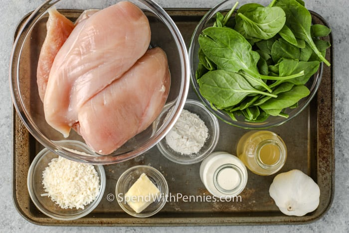 ingredients to make Spinach Stuffed Chicken Breasts