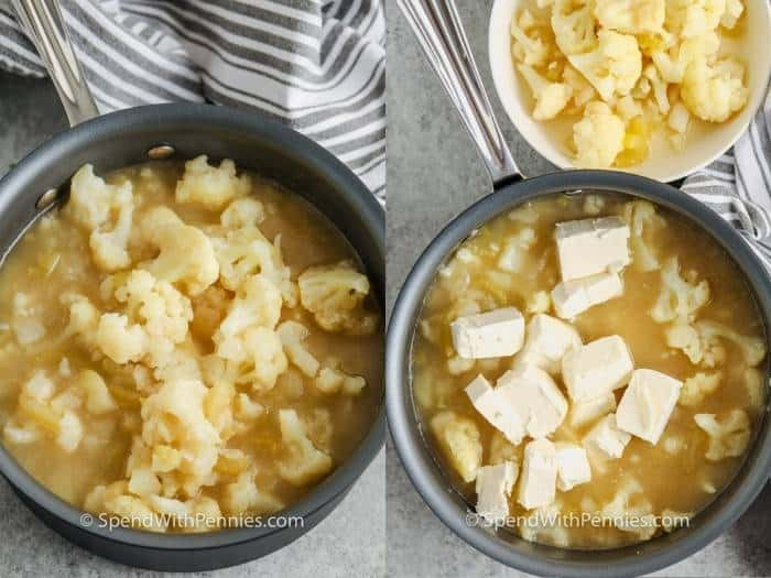 process of adding ingredients to the pot to make Easy Cauliflower Soup