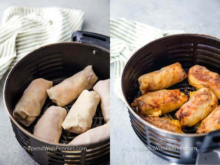 egg rolls in the air fryer, fried and not fried