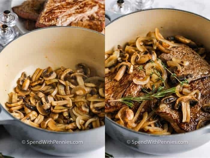 adding ingredients to pot to make Round Steak and Mushrooms