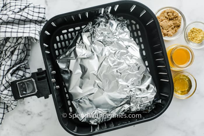 Air Fryer Ham in tin foil in the air fryer