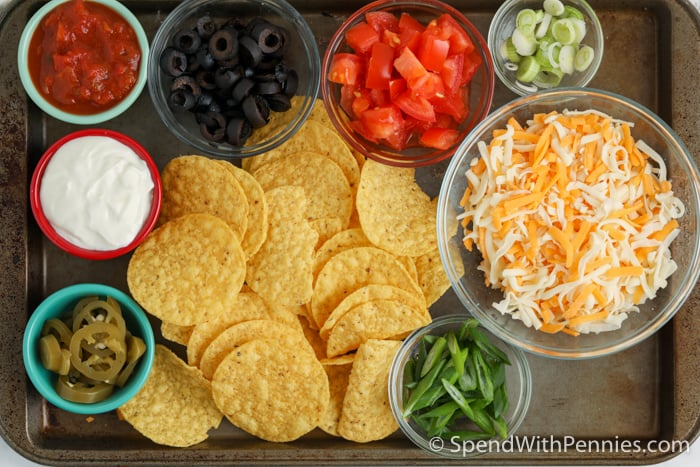 ingredients to make Air Fryer Nachos on a baking sheet