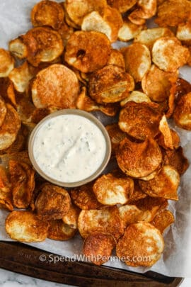 Air Fryer Potato Chips with dip