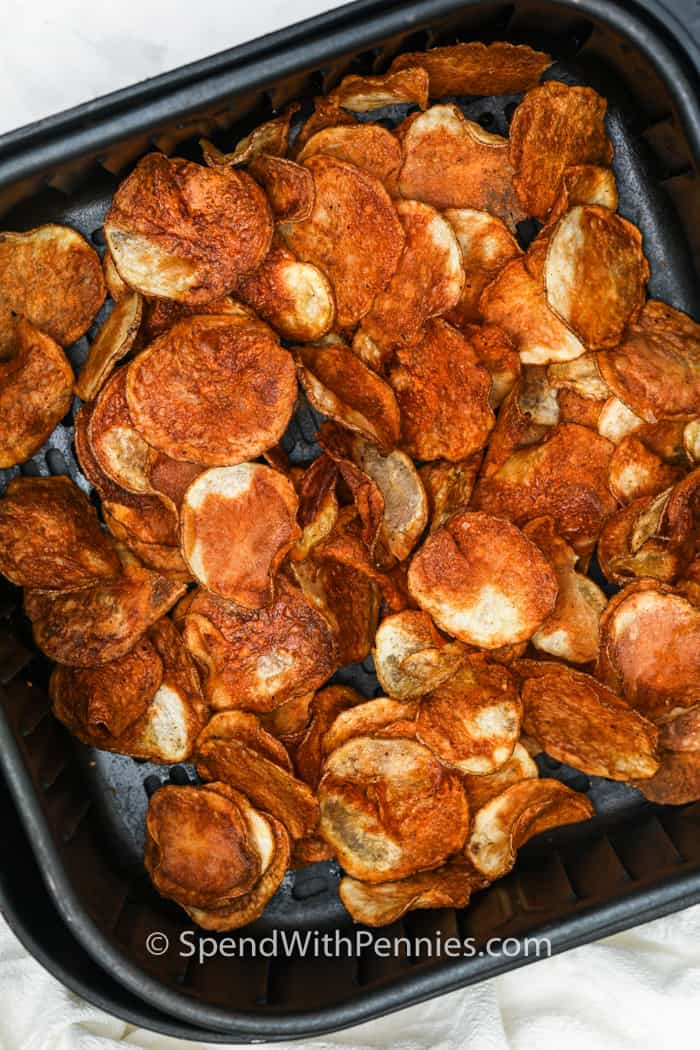 Air Fryer Potato Chips cooked in the air fryer