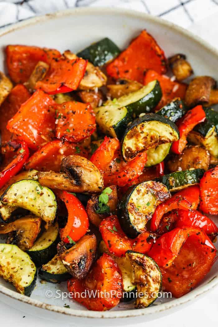 plated Air Fryer Vegetables