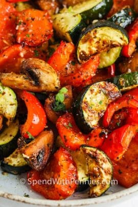 close up of Air Fryer Vegetables