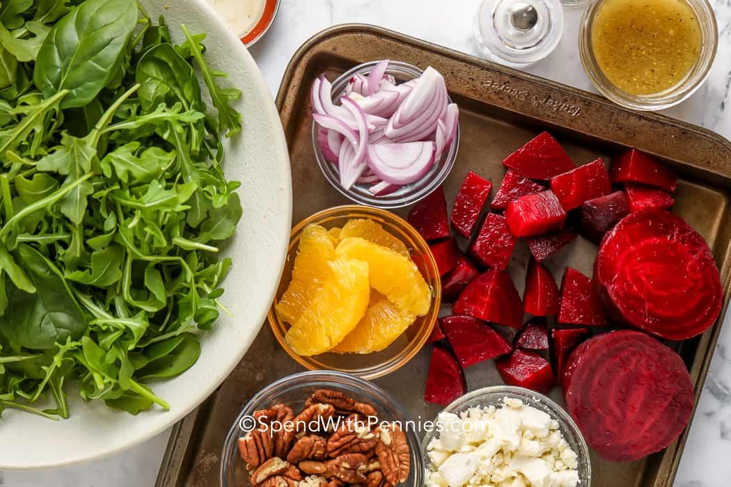 ingredients for beet arugula salad