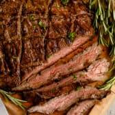 Sliced Balsamic Marinated Flank Steak with rosemary
