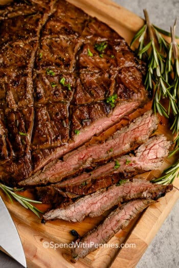 Sliced Balsamic Marinated Flank Steak with rosemary
