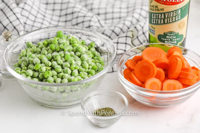 ingredients to make Buttery Peas and Carrots