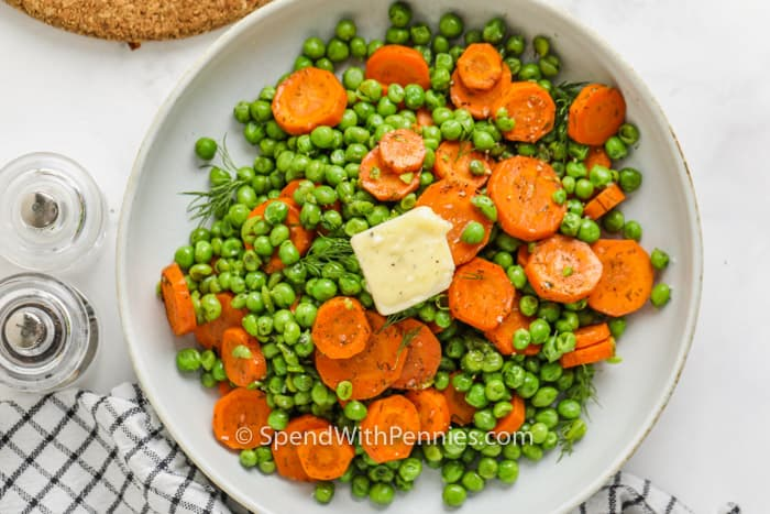 top view of plated Buttery Peas and Carrots