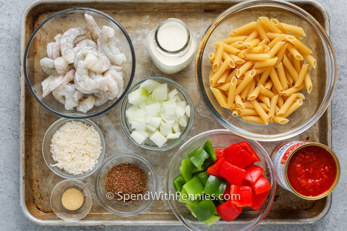 ingredients to make Cajun Shrimp Pasta