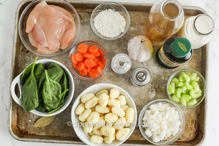 ingredients to make Chicken Gnocchi Soup on a sheet