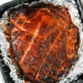 close up of Air Fryer Ham in the air fryer