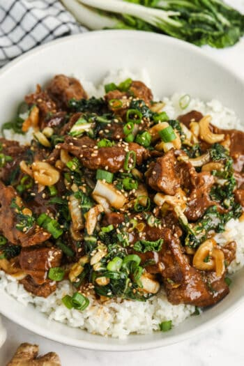 close up of plated Beef & Bok Choy Stir Fry
