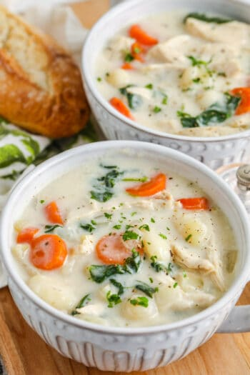 bowls of Chicken Gnocchi Soup