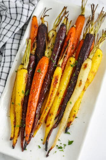 plated close up of Roasted Rainbow Carrots